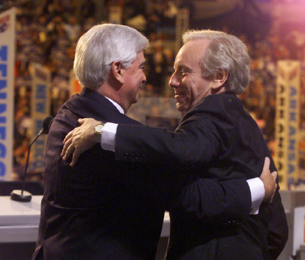 LOS ANGELES,CA; 8.17.00: Vice presidental candidate Sen. Joseph Lieberman, right, embraces Sen. Christopher Dodd after Dodd introduced him during the Democratic National Convention on Thursday night.