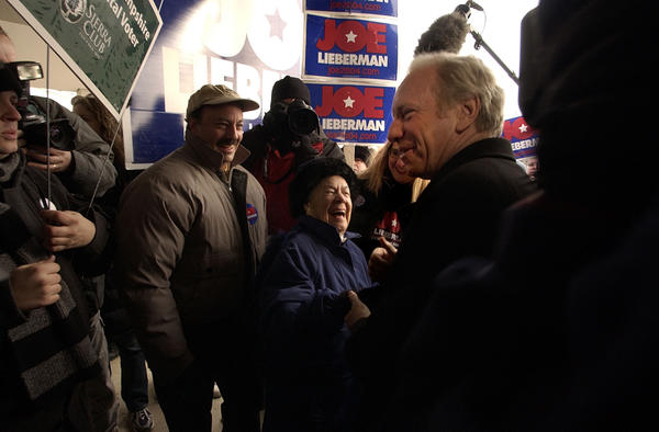 Manchester, NH 1-27-2004 Sen. Joseph Lieberman campaigned throughout Manchester, New Hampshire Tuesday on the states first in the nation primary. Lieberman hopped from diner to restaurant to his headquarters and to polling locations throughout the state in hopes of getting out the vote.