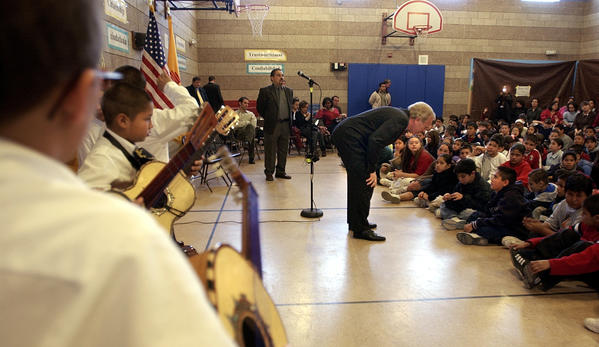 Albuquerque, NM  2-1-2004 Sen. Joseph Lieberman met with students, parents and teachers at the East San Jose Community School in Albuquerque, NM early Monday morning and was introduced with a student mariachi band.