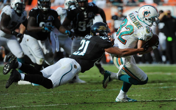 Brian Hartline went over 1,000 yards in receptions for the year during the game against the Jaguars.