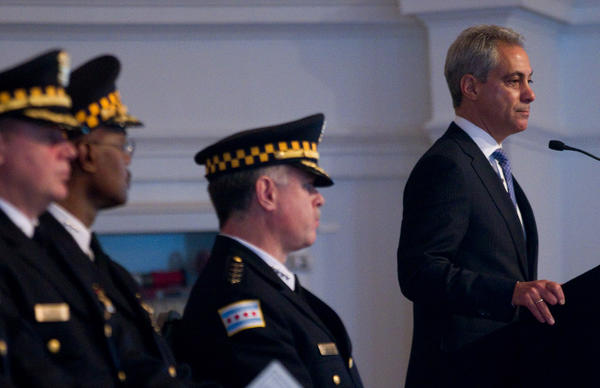 Chicago Mayor Rahm Emanuel speaks on the Newtown tragedy during a police graduation ceremony at Navy Pier on Monday