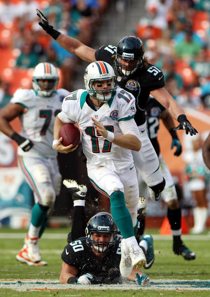 Quarterback Ryan Tannehill #17 of the Miami Dolphins scrambles against the Jacksonville Jaguars at Sun Life Stadium on December 16, 2012 in Miami Gardens, Florida.