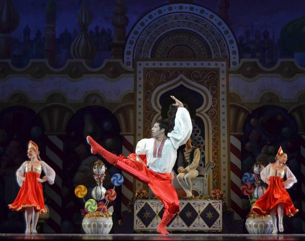 "Marcello Antonio Balestracci with Karen James & Caroline Shippey performs the Russian folk dance in CAPA Fund's ""The Nutcracker."""