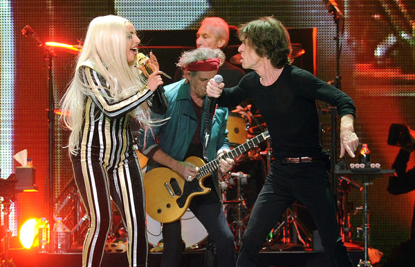 Lady Gaga joins Mick Jagger, guitarist Keith Richards and drummer Charlie Watts at the Rolling Stones' 50th anniversary concert in New Jersey.