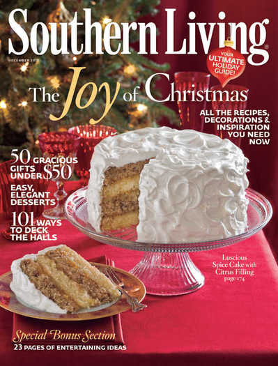 white cakes appear on the cover of southern living 39 s december issue
