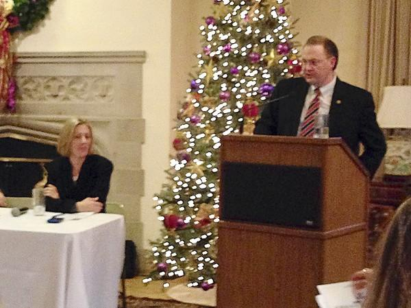 """Winnetka Village Manager Rob Bahan delivers remarks during a Dec. 13 """"State of the Villages"""" event at Kenilworth Union Church, 211 Kenilworth Ave., Kenilworth, that was hosted by the League of Women Voters of Winnetka-Northfield-Kenilworth."""