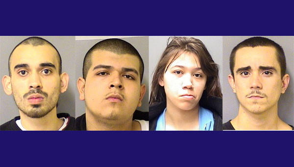 Jesus Villalobos, 16, (not pictured) has been charged with murder in a February slaying that Ray Geureca, 22, Luis Valdez, 21, Elena Rios, 17, and Gonzalo Guerrero, 20, are also charged in.