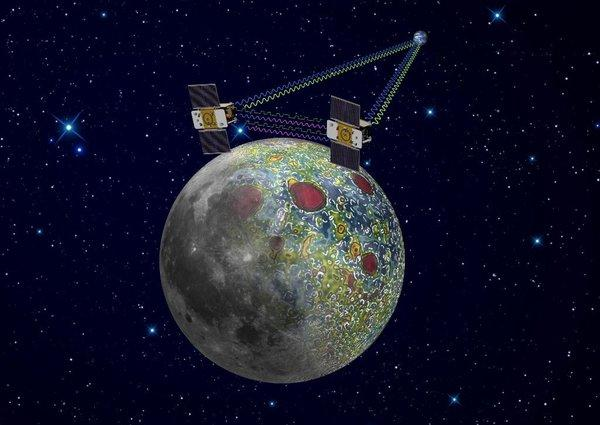 An artist's rendering of the twin GRAIL spacecraft, Ebb and Flow, which will crash into the moon's north pole on Monday.