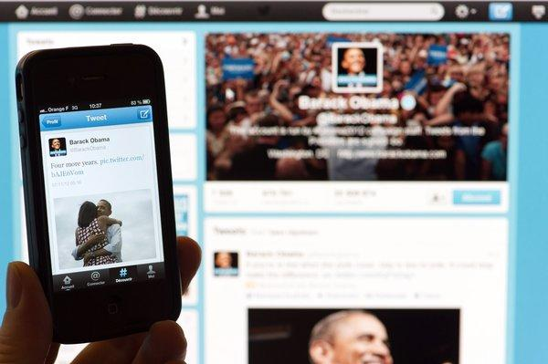 President Obama proclaimed his victory on Twitter and Facebook just as TV networks were breaking the news.
