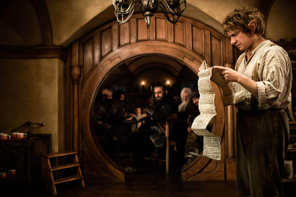 "This film image released by Warner Bros. shows Martin Freeman as Bilbo Baggins in a scene from the fantasy adventure ""The Hobbit: An Unexpected Journey."""