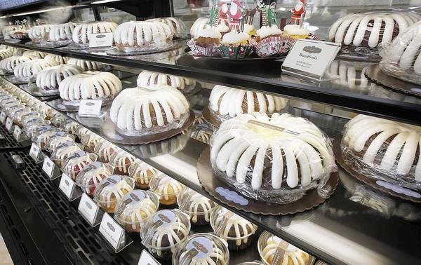 A display case with cakes at Nothing Bundt Cakes in Huntington Beach on Friday.