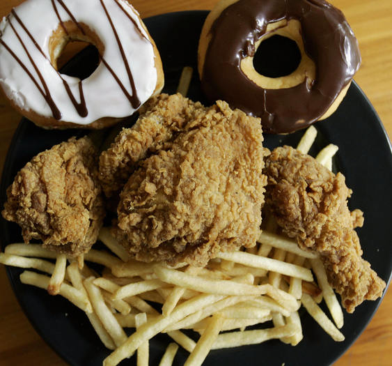 Doughnuts, french fries and fried chicken