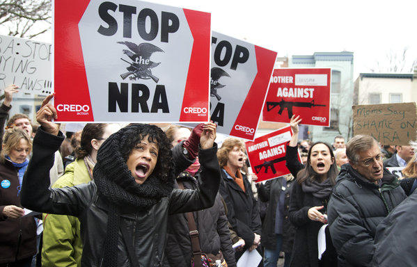 A march to the National Rifle Association headquarters on Capitol Hill in Washington.