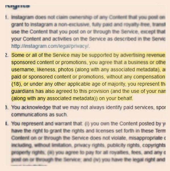 An Instagram photo of the upcoming changes to the social network's terms of service.