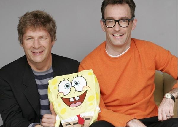 "Andy Paley, left, and Tom Kenny, the creative forces behind the ""It's a SpongeBob SparePants Christmas!"" album."