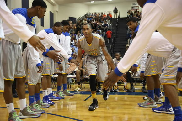 Simeon's Russell Woods during introductions before the start of their game against Arlington (Tenn.) on Saturday.