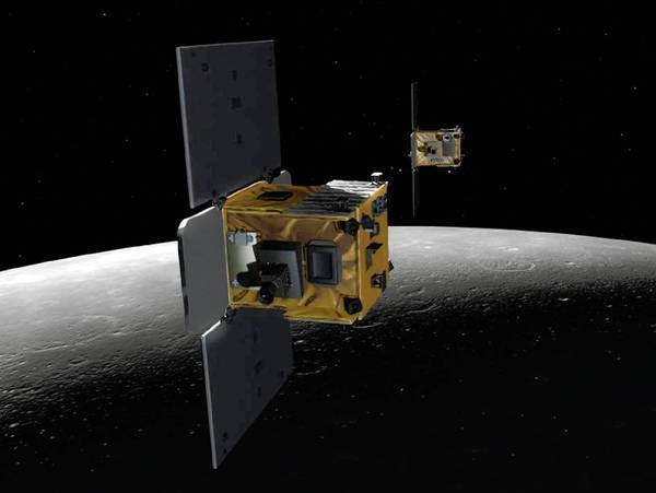 The Ebb and Flow satellites are shown in an artist's depiction.
