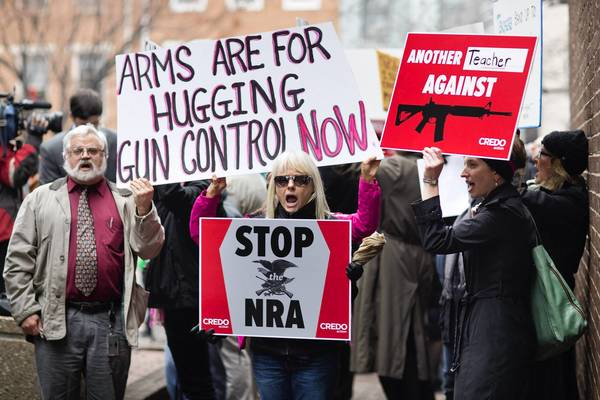 Supporters of gun control measures march in Washington in response to the Newtown, Conn., school shooting.