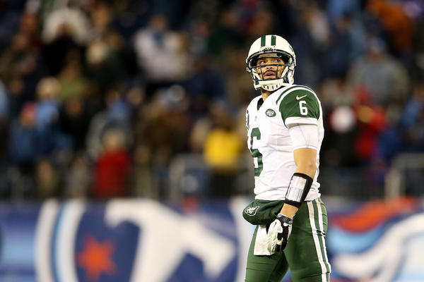 Mark Sanchez had a tough night for the Jets, throwing four interceptions and fumbling a snap.
