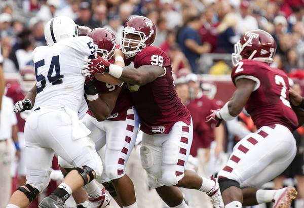 Temple's Levi Brown (99), a Liberty High graduate, is one of several Lehigh Valley-area players on the Owls' roster.