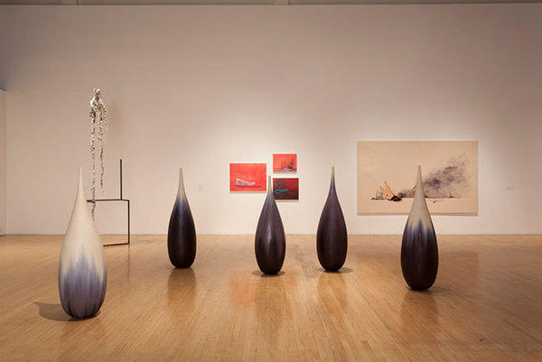 "The exhibition ""Facing the Sublime in Water, CA"" includes Mineo Mizuno, foreground, ""Teardrop -- Winter Nos. 1-5,"" 2012. Works by Charles Long and Whitney Bedford in background."