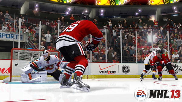 Patrick Kane scored on his only shot of the game and contributed an assist as the Hawks doused the Flames at the United Center. Five Chicago players notched goals¿including the first score of the season for Jimmy Hayes. RECORD: 19-8-3