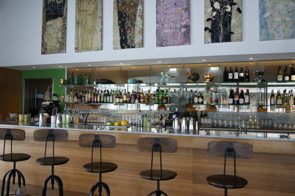 Interior shot of Muddy Leek, the newly opened farm-to-table restaurant in Culver City.