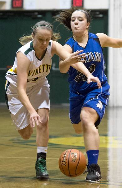 Central Catholic's Alyssa Mack gets tangled up with Southern Lehigh's Mady Campbell.