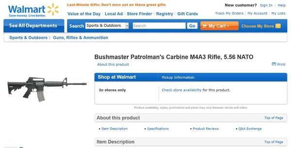 A cached version of Wal-Mart's informational page for a Bushmaster rifle. The page is now unavailable.