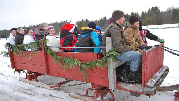 Sleigh rides at Cook farm are available throughout the holiday for groups by appointment. In January and February, rides will be available every Saturday from 1 to 5 p.m., every hour on the hour, without appointments.