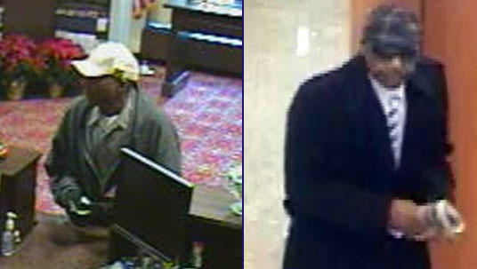 The same man is suspected of robbing the Burling Bank, 141 W. Jackson Blvd. (left), a Citibank branch, 539 N. Michigan Ave. (right), and another Loop bank.