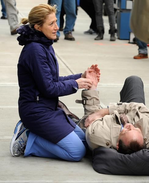 "Edie Falco filming ""Nurse Jackie""  in New York City."