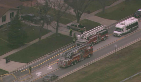 Crews on the scene of a fatal fire in Oak Forest today. WGN-TV