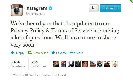 Instagram says it will soon address the uproar over its terms-of-service change.