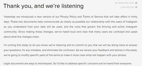 Instagram has announced it will remove wording from its terms of service that has upset many of its users.