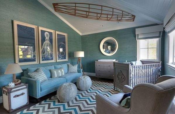 The Brentwood nursery of Giuliana and Bill Rancic includes more than a crib for their son, Duke. It was designed with a glider, a sofa and a pair of ottomans, so family can get comfortable.