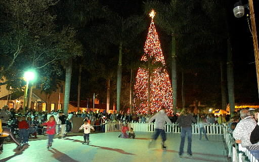 Ice skaters at Old School Square in Delray Beach.