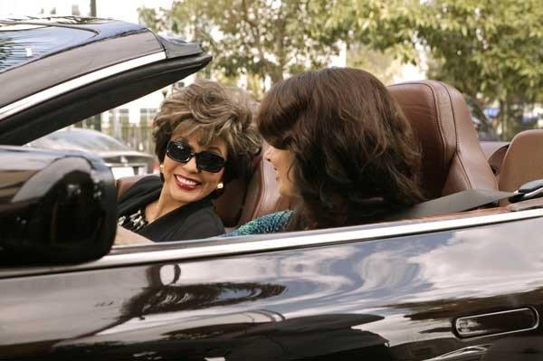 "On ""Happily Divorced"" Joan Collins, left, is chauffeured by Fran (Fran Drescher) at 10:30 p.m. on TV Land."