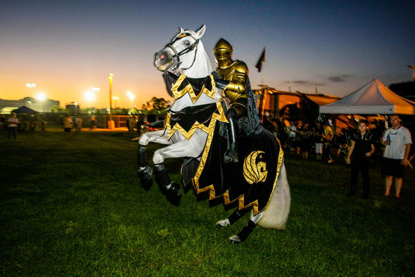 Pegasus and the UCF Knight warm up before the start of a C-USA football game against Southern Miss at the Brighthouse Networks Stadium on Saturday, October 13, 2012 in Orlando, FL.
