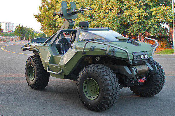 "Built on the chassis of a Hummer H1, this real-life ""Halo"" Warthog is almost 8 feet tall, more than 8 feet wide and more than 17 feet long."
