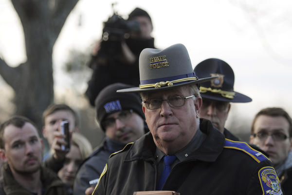 Connecticut State Police spokesman Lt. Paul Vance holds  a press conference on Saturday not far from Sandy Hook Elementary School.