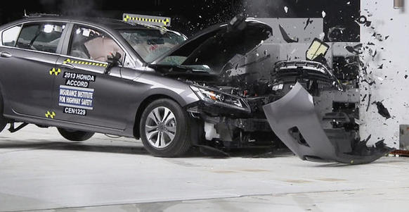 "The 2013 four-door Honda Accord received a ""good"" rating in a test by the Insurance Institute of Highway Safety. During the test, the front driver's-side corner rams into a 5-foot-tall ri"