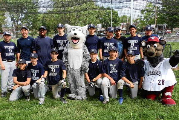 IronPigs mascot Ferrous poses with the Dieruff baseball team last spring.