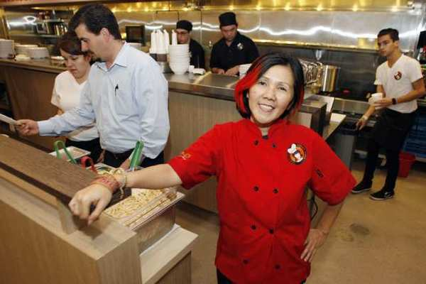 Kimmy Tang, 9021pho co-owner and chef, during a trial run at the new Glendale Galleria location, the fourth in the Los Angeles area.