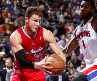Blake Griffin drives past Pistons big man Andre Drummond in the Clippers' 88-76 win over the Detroit Pistons Monday night at The Palace of Auburn Hills.
