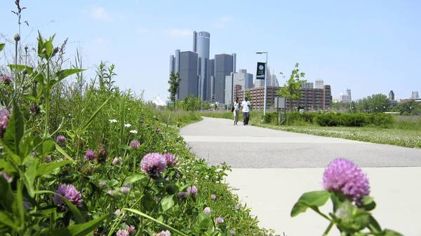 Detroit's riverfront path offers a slice of the pastoral in the city.