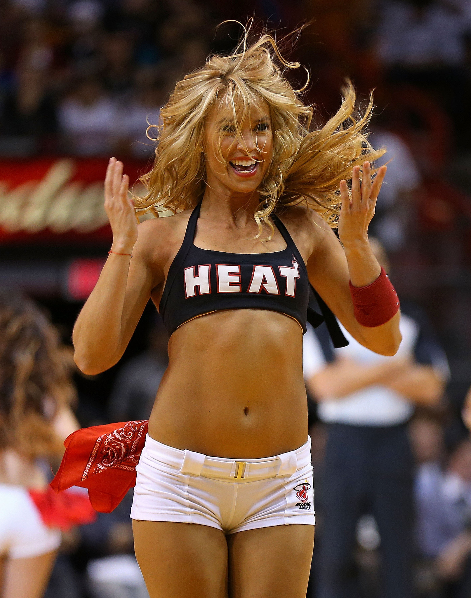 Photos: Miami Heat Dancers in action - A member of the Miami Heat dance team performs during a game against the Minnesota Timberwolves.