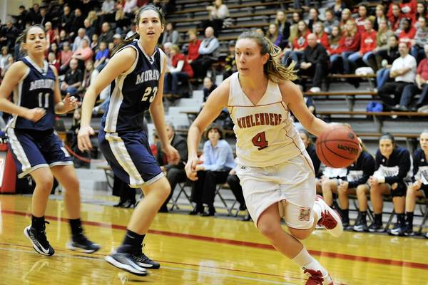 Muhlenberg's Alita Zabrecky (4), a Southern Lehigh graduate, became the ninth 1,000-point scorer in school history Tuesday night.
