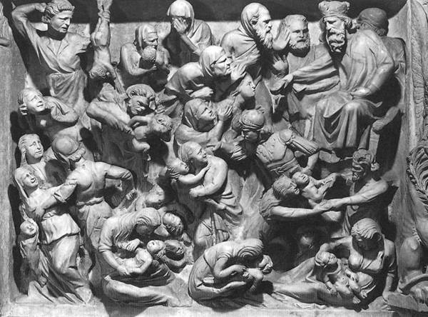 "This is an altarpiece depicting the massacre of the holy innocents. The artwork, ""Massacre of the Innocents"" is by Giovanni Pisano."
