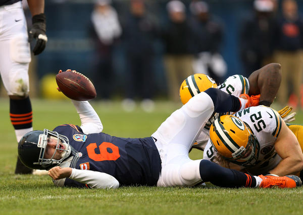 Jay Cutler is sacked during the Bears' loss to the Packers.